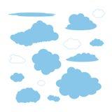 Set of cloud shapes. Set of blue cloud shapes illustration Stock Photo