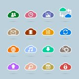 Set of cloud technology icons, contrast color Royalty Free Stock Image