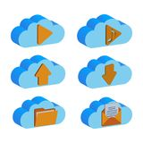 A set of cloud backup data folders, isolated on a white background. Cloud folder design concept. Vector illustration. A set of cloud vector folders. A cloud Stock Image