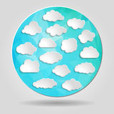 Set of clouds on Abstract geometric blue circular shape from tri Stock Image