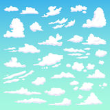Set with clouds.  art on blue background Royalty Free Stock Image