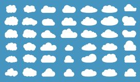 Set of clouds in blue sky. Cloud icon shape. Collection of different clouds, label, symbol. Graphic vector design element for logo. Web and print. Vector Stock Photos