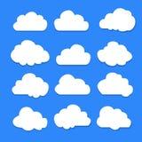Set of clouds on blue sky illustration. Vector Illustration Royalty Free Stock Images