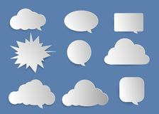 Clouds, bubbles for entering text. Set clouds bubbles many shape and box word for entering text message vector illustration