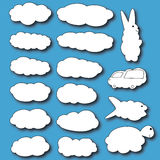 Set of clouds. Clouds in the form of animals. Royalty Free Stock Image