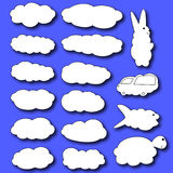 Set of clouds. Clouds in the form of animals. Clouds in the cartoon style Stock Images