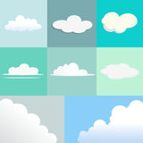 Set of Clouds with Different Shape and Texture. Royalty Free Stock Images