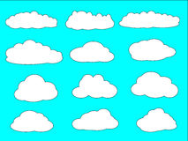 A set of clouds with different shapes Royalty Free Stock Photos