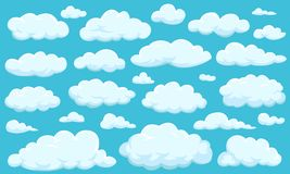 Set of clouds of different shapes in the sky for your web site design, UI, app. Meteorology and atmosphere in space. Set of clouds of different shapes in the Stock Photography
