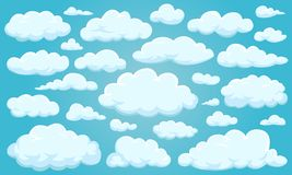 Set of clouds of different shapes in the sky for your web site design, UI, app. Meteorology and atmosphere in space. Set of clouds of different shapes in the Royalty Free Stock Images