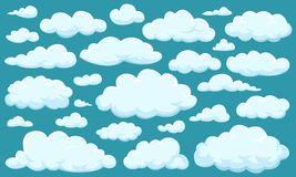 Set of clouds of different shapes in the sky for your web site design, UI, app. Meteorology and atmosphere in space. Set of clouds of different shapes in the stock illustration