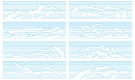 Set of clouds drawn in vintage style. Royalty Free Stock Image