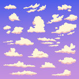 Set with clouds in the evening. Isolated art on white background. Vector. Cartoon. Flat Stock Photography