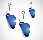 Set of clouds and hooks. illustration design Royalty Free Stock Photography