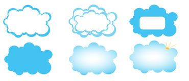 Set of clouds. Icon set of clouds with copy space isolated on white background for ui design Royalty Free Stock Images