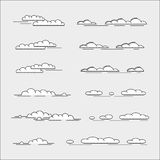 Set of clouds. Icons, thin line style Royalty Free Stock Image