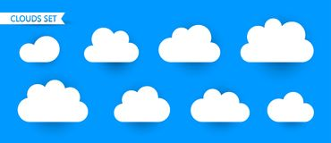 Set of Clouds isolated on blue background. Symbol for your web site design, logo, app, UI. Vector illustration, EPS10 Royalty Free Stock Image