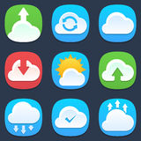 Set of clouds mobile icons in flat design Royalty Free Stock Photos