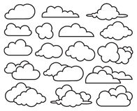 Set of clouds. Monochrome illustration of clouds collection royalty free illustration
