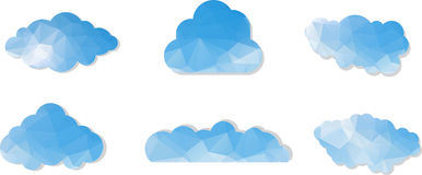 Set of Clouds in origami style. Vector illustratio Stock Photos