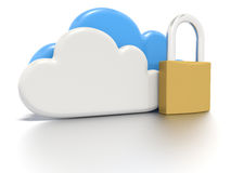 Set of clouds and a padlock, secure data storage. A Stylized CG still render, depicting a set of clouds and a padlock, to indicate secure data storage for users Royalty Free Stock Photos