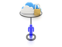 Set of clouds and a padlock, secure data storage. A Stylized CG still render, depicting a set of clouds and a padlock, to indicate secure data storage for users Stock Photo