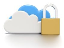 Set of clouds and a padlock, secure data storage. A Stylized CG still render, depicting a set of clouds and a padlock, to indicate secure data storage for users Royalty Free Stock Photography