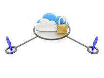 Set of clouds and a padlock, secure data storage. A Stylized CG still render, depicting a set of clouds and a padlock, to indicate secure data storage for users Royalty Free Stock Image