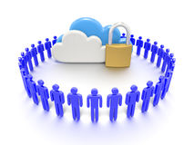 Set of clouds and a padlock, secure data storage Stock Images