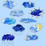 Set of clouds. Rain, snow, sun, thunder. Digital watercolor. Stock Photography