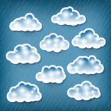 Set of clouds. On rainy background Stock Photo