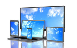 Set of clouds on the screen of computer gadgets 3d illustration Stock Photos
