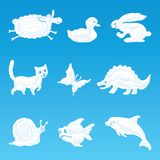 Set of clouds in the shape of animals. Vector set of clouds in the form of various funny animals Stock Photography