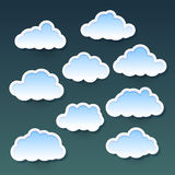 Set of clouds. Set of simple clouds on background Stock Image
