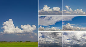Set of clouds and sky Stock Photos