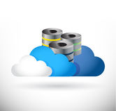 Set of clouds and storage servers illustration Royalty Free Stock Photos