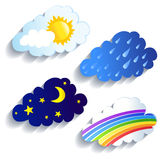 Set of clouds, weather, time of day Royalty Free Stock Photos