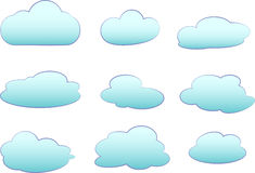 Set of clouds. On white background Royalty Free Stock Photo