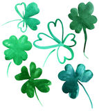 Set of clovers Stock Photography