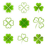 Set of clovers with four and three leaves Stock Images