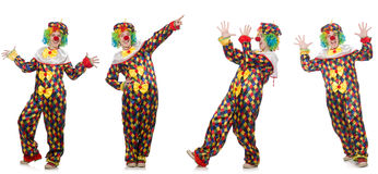 Set of clown photos isolated on white Stock Image