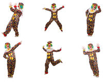 Set of clown photos isolated on white Royalty Free Stock Photography