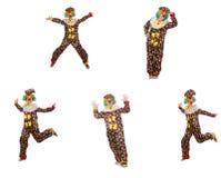 The set of clown photos isolated on white Stock Photos