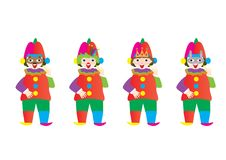 Set of clowns with masks. Jewish holiday purim. Vector design Stock Image