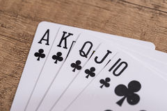 Set of Clubs suit playing cards Stock Image