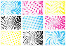 Set of cmyk color halftone backgrounds Stock Photo