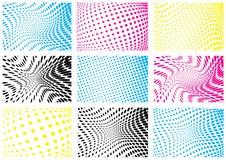 Set cmyk koloru halftone tła Zdjęcie Stock