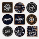 Set of 9 coasters for beer royalty free illustration