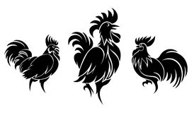 Set of cocks silhouettes. For logo or tattoo. Animal and bird. Vector illustration Royalty Free Stock Photos