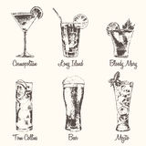 Set cocktail Cosmopolitan Beer Mojito vector drawn. Set of cocktails Cosmopolitan Tom Collins Bloody Mary Long Island Beer Mojito Vintage engraved vector vector illustration